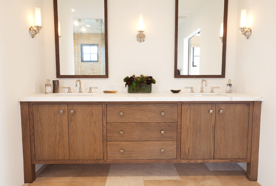 wooden his and hers vanity